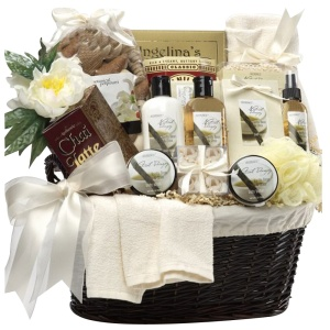 The Essence of Luxury bath and body gift basket is full of vanilla-scented pleasures.