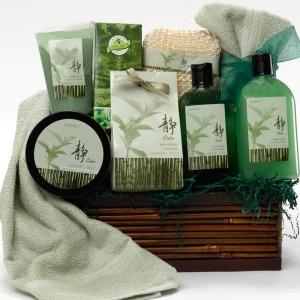 Green Tea Zen Calming Bath and Body Gift Basket from www.artofappreciation.com
