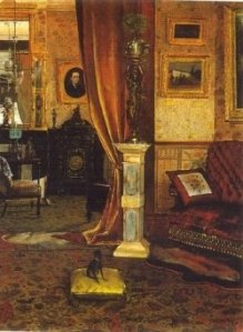 Victorian parlor from 1886. Note the many patterns, heavy drapery, and statuary. (Public domain photo)