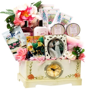 The Victorian Lace gift basket from Art of Appreciation features exclusive spa products and treats in a Victorian-inspired box with real working clock.
