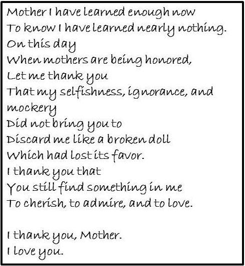 Maya Angelou, Poem for Mother